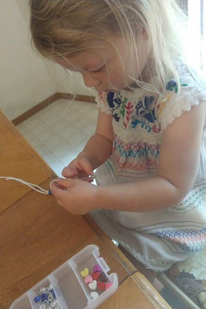 Toddler Necklace Making